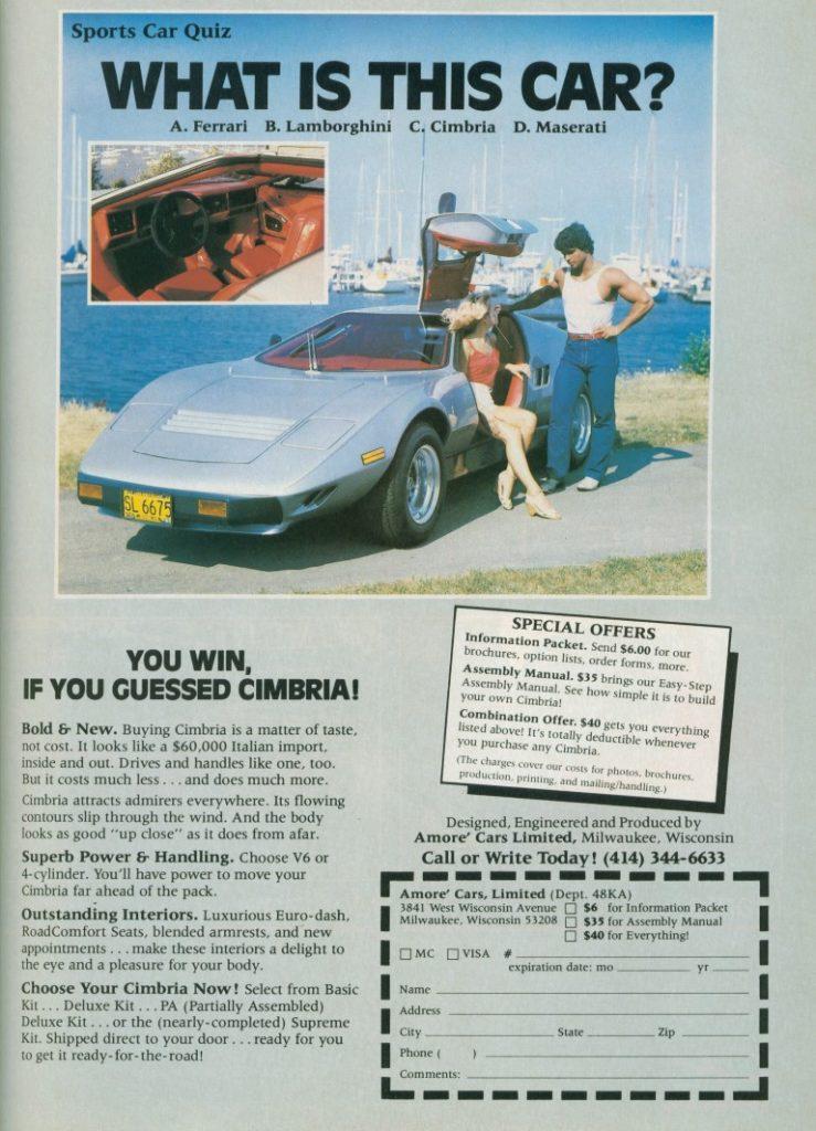 Cimbria SS Kit Car Color Advertisement